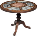 Furniture , A Chinese Hardwood and Marble Revolving Tilt-Top Wine Tasting Table, 19th century. 27-1/2 x 32 x 32 inches (69.9 x 81.3 x 81...