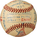 """Baseball Collectibles:Balls, 1946 Enos Slaughter Hand-Painted """"Stat Ball"""" Commemorating His Finest Season from The Enos Slaughter Collection...."""