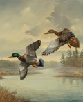 Fine Art - Painting, American, Andrew Kurzmann (American, 20th Century). Ducks in Flight.Oil on canvas. 24 x 20 inches (61.0 x 50.8 cm). Signed lower ...