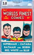 Golden Age (1938-1955):Superhero, World's Finest Comics #2 (DC, 1941) CGC GD/VG 3.0 Off-white to white pages....
