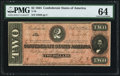 Confederate Notes:1864 Issues, T70 $2 1864 PF-1 Cr. 569 PMG Choice Uncirculated 64.. ...