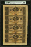 Obsoletes By State:Louisiana, New Orleans, LA- Citizens' Bank $100-$100-$100-$100 18__ Uncut Sheet PMG Choice Uncirculated 64.. ...