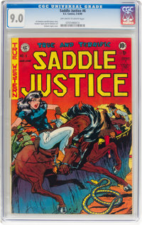 Saddle Justice #6 (EC, 1949) CGC VF/NM 9.0 Off-white to white pages