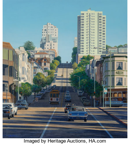 Franklin Dalton (American, 20th Century)Francisco Beach Street with Blue MustangAcrylic on canvas40 x 36 inches (1...