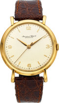 Timepieces:Wristwatch, International Watch Co, Fine 18k Gold Caliber 89 Dress Watch, Circa 1950's. ...