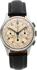 Timepieces:Wristwatch, Gallet & Co, Three Register Steel Chronograph, Excelsior ParkCaliber, Circa 1950's. ...