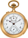 Timepieces:Pocket (post 1900), Oscar Fresard, Lucerne, First Quality Gold & Enamel Minute Repeater, Split Seconds Chronograph With Register, circa 1905. ...