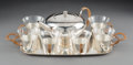 Decorative Arts, Continental, An Eight-Piece Carl Deffner Silver-Plated Tea Service with WovenCane Handles, Esslingen, Germany, circa 1925. Marks: GERM...(Total: 8 Items)