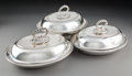 Silver & Vertu:Holloware, Three English Silver-Plated Covered Entree Dishes, late 19th century. Marks: (various). 6 x 12 x 9-1/4 inches (15.2 x 30.5 x... (Total: 3 Items)