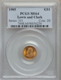 Commemorative Gold, 1905 G$1 Lewis and Clark Gold Dollar MS64 PCGS. PCGS Population: (711/369). NGC Census: (384/172). MS64. Mintage 10,000. ...