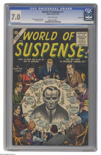 World of Suspense #1 Bethlehem pedigree (Atlas, 1956) CGC FN/VF 7.0 Off-white pages. Here's a comic you don't see every...