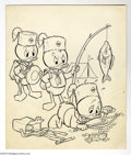 Original Comic Art:Covers, Pete Alvarado - Huey, Dewey, and Louie Junior Woodchucks #18 CoverOriginal Art (Gold Key, 1973). Two of the Junior Woodchuc...