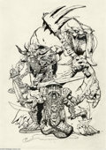 Original Comic Art:Sketches, Simon Bisley - Preliminary Painting Sketch Original Art (undated). Can you point those things somewhere else? These three cr...