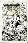 Original Comic Art:Covers, Brian Bolland - Judge Dredd #15 Cover Original Art (Eagle Comics,1985). Judge Dredd isn't usually too keen on product endor...