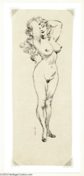Original Comic Art:Sketches, Frank Frazetta - Standing Female Nude Sketch Original Art (undated). She's a lovely lass and she fills up this sketch with h...