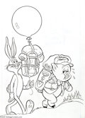 Original Comic Art:Covers, Gold Key Studios - Porky Pig and Bugs Bunny #66 Cover Original Art (Gold Key, 1976). Out on a hike, Porky Pig works hard whi...