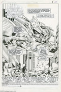 Original Comic Art:Splash Pages, Jack Kirby and Greg Theakston - Super Powers #2 Splash PageOriginal Art (DC, 1985). Three of the Earth's mightiest heroes, ...