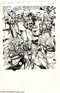 Original Comic Art:Splash Pages, Jim Lee - WildC.A.T.S Trading Card Original Art (Image, 1994). JimLee's trading card illustration of the entire WildC.A.T.S...