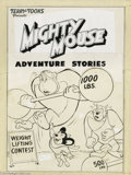 Original Comic Art:Covers, Norm Maurer (attributed) - Mighty Mouse #56 Cover Original Art (St.John, 1954). Mighty Mouse humbles a powerful strongman b...