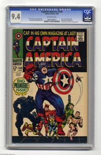 Captain America #100 (Marvel, 1968) CGC NM 9.4 Off-white pages. This is actually the first issue of Cap's title, with th...