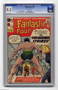 Fantastic Four #14 (Marvel, 1963) CGC VF+ 8.5 Off-white pages. How can someone carry a torch when he's underwater? When...