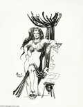 "Original Comic Art:Splash Pages, Alfredo Alcala - Fantasy Female Pin-Up Original Art (1977). Alfredo Alcala dishes up a rather risque slice of ""good girl"" ch..."