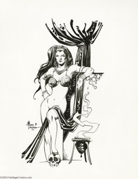 "Alfredo Alcala - Fantasy Female Pin-Up Original Art (1977). Alfredo Alcala dishes up a rather risque slice of ""good..."