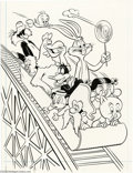 Original Comic Art:Covers, Pete Alvarado (attributed) - Looney Tunes #6 Cover Original Art(Gold Key, 1975). It's a roller coaster ride full of hare-ra...