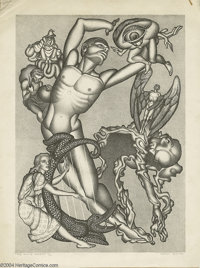 """Hannes Bok - """"The White Powers"""" Limited Edition Lithograph, #32/100 Original Art (1944)"""
