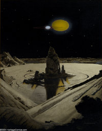 "Chesley K. Bonestell - ""Double Star"" Painting Original Art (undated). Born in San Francisco, Chesley Bonestell..."