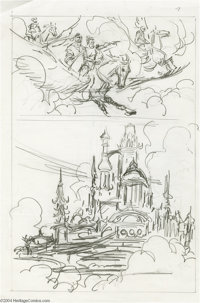 John Buscema - Conan Layout Sketches Original Art, Group of 3 (undated). John Buscema's creative process is laid bare in...