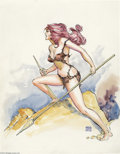 Original Comic Art:Splash Pages, Ernie Chan - Cavewoman Pin-Up Original Art (undated). Ernie Chan'sgorgeous cavewoman would be right at home on the set of t...