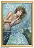 Original Comic Art:Paintings, David A. Cherry - Mermaid Painting Original Art (1987). A mermaid,deep in thought, fans her tail as she muses. David Cherry...