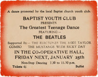 Beatles Baptist Youth Club Ticket (1963)