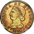 Colombia, Colombia: Republic gold 8 Escudos 1824/3 BOGOTA-JF AU Details (Cleaned) NGC,...