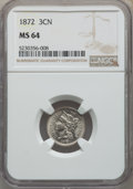 Three Cent Nickels: , 1872 3CN MS64 NGC. NGC Census: (48/27). PCGS Population: (68/42). CDN: $450 Whsle. Bid for problem-free NGC/PCGS MS64. Mint...