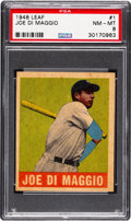 Baseball Cards:Singles (1940-1949), 1948 Leaf Joe DiMaggio #1 PSA NM-MT 8 - Only Two Higher. ...