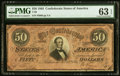 Confederate Notes:1864 Issues, T66 $50 1864 PF-1 Cr. 495 PMG Choice Uncirculated 63 EPQ.. ...