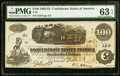 Confederate Notes:1862 Issues, T40 $100 1862 PF-1 Cr. 298 PMG Choice Uncirculated 63 EPQ.. ...