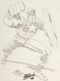 Original Comic Art:Sketches, Jack Kirby - Captain America Sketch Original Art (1977)....