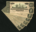 Confederate Notes:1864 Issues, T67 $20 1864. Prominent embossing is found on this mini-run of six Choice Crisp Uncirculated Series 3 $20s.. ... (Total: 6 notes)
