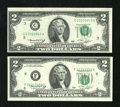 Error Notes:Shifted Third Printing, Fr. 1935-C; F $2 1976 Federal Reserve Notes. Choice Crisp Uncirculated.. The third printing is off in different directions o... (Total: 2 notes)