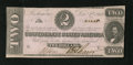 Confederate Notes:1862 Issues, T54 $2 1862. A tiny corner nick and a small bend are noticed.Choice About Uncirculated....