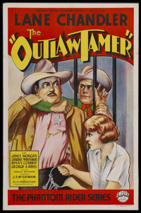 "The Outlaw Tamer (Empire Films, 1935). One Sheet (27"" X 41""). Western. Starring Lane Chandler, Janet Morgan, B..."