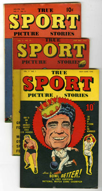 """True Sport Picture Stories V4#7, 10, and 11 Group - Davis Crippen (""""D"""" Copy) pedigree (Street & Smith, 194..."""