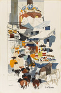 American:Regional, DONG KINGMAN (American 1911-2000). Market Scene, Taxco. Watercolor on paper. 22.25in. x 14.75in.. Signed lower right. ...