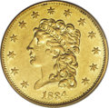Classic Quarter Eagles: , 1834 $2 1/2 Classic AU58 PCGS. This is the so-called Small Head variety, easily the most plentiful of all Classic Head quar...