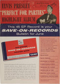 "Music Memorabilia:Recordings, Elvis Presley EP Sampler Group of 2 (RCA, 1956). Hard to find,especially in this grade, two samplers: ""Save-On Record"" (RCA..."