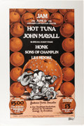 "Music Memorabilia:Posters, Hot Tuna/John Mayall Anaheim Youth Benefit Concert Poster (1975).This lovely ""Orange County Jam"" poster features great grap..."
