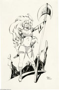 Original Comic Art:Splash Pages, Pablo Marcos - Red Sonja Pin-Up Original Art (undated). Red Sonja,R. E. Howard's red-headed warrior woman, stands triumphan...